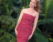 Strapless Dress in Polynesian Block Print Style