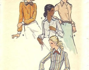 Vintage Sewing Pattern 1970s Shirts Butterick 6525