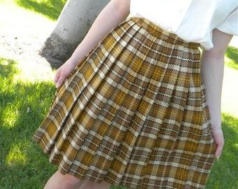 Vintage Skirt Wool Plaid Pleated SALE