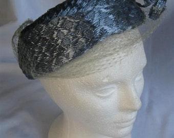 Vintage Hat 1960s Blue Faux Straw Pillbox