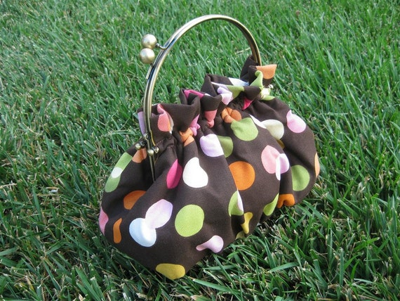 Purse in Chocolate Brown with Polka Dots and 6 Inch Frame