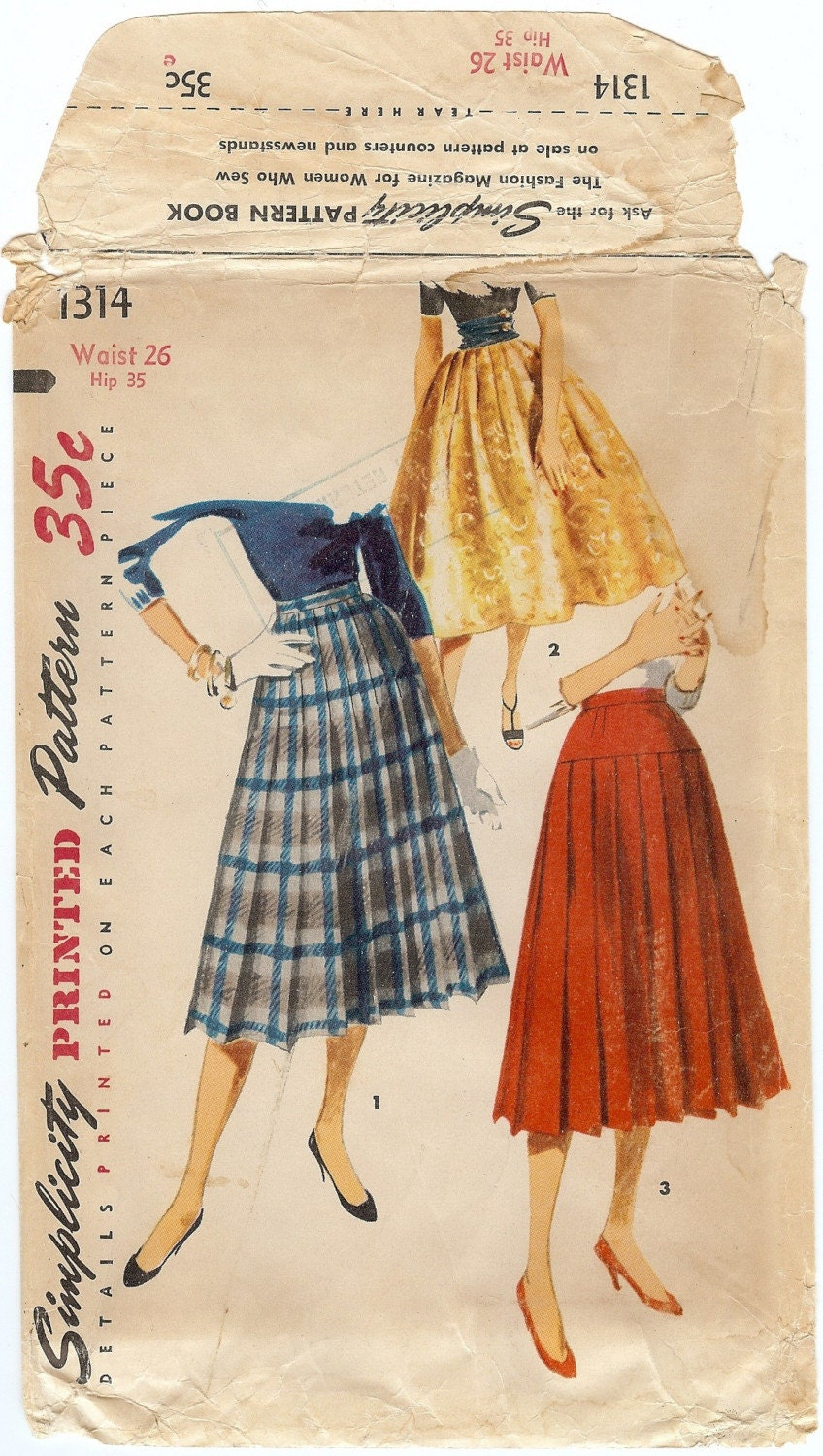 vintage 1950s pleated skirt sewing pattern simplicity 1314