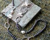 2 tones pearl necklace