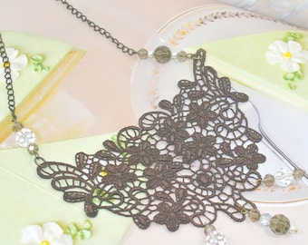 Chocolate lace bib necklace