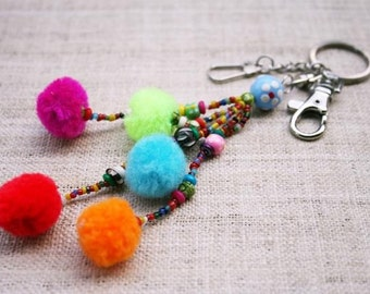 Colorful Pompom bag hook