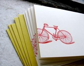 Vintage Red Bike Letterpress Folded Note Card (Single)