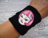 black SWEATBAND with art patch GROUCHY PINK grrl