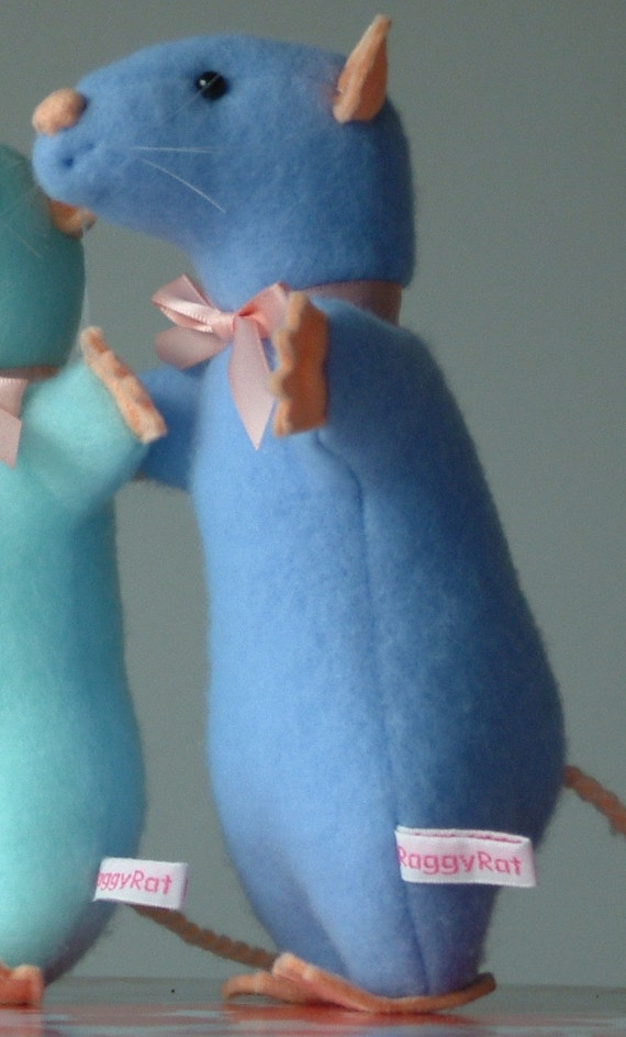 pastel sky blue raggy rat, featured in stuffed magazine ...