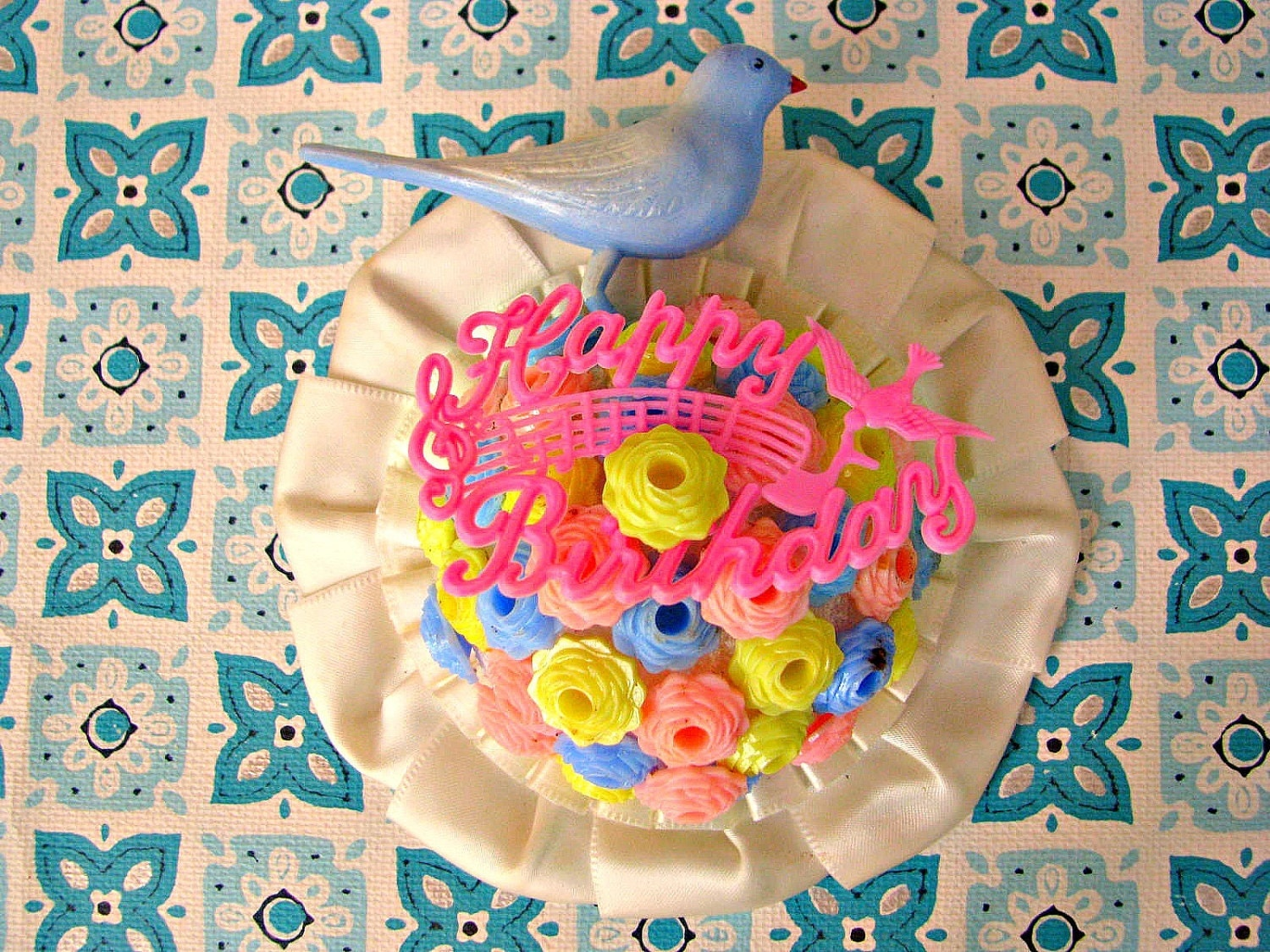Vintage Happy Birthday With Bird Prize Ribbon Corsage By