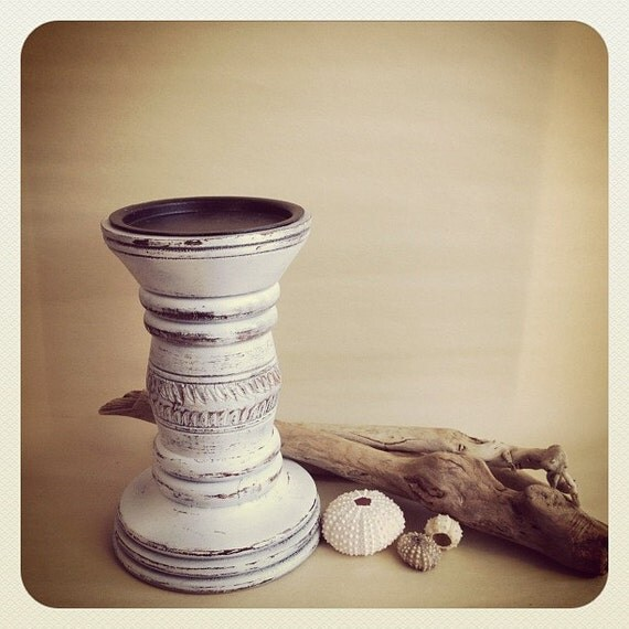 Shabby Chic Candle Holder Large Wooden White Chippy Pillar