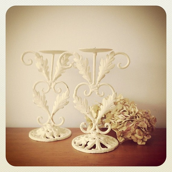 White Shabby Candle Holders - Pair - Distressed Decor