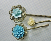 Fresh Air.................Sweet Flower Brass Hair Pins