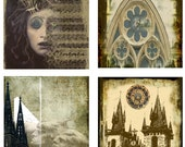 Medieval Castle Wood coaster Set - Gothic Architecture of Paris and Prague art coasters, Old World Castles, Stone statue 4 Coasters DC008