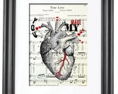 Human Anatomy Heart - ORIGINAL ART - You Make My Heart Sing - Vintage Sheet Music Book Page Print - Medical Science - Wedding Love