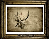 The North Star Deer Print Vintage Map illustration college, Red ship compass, Art Print, Gifts for men deer digital art print 8x11