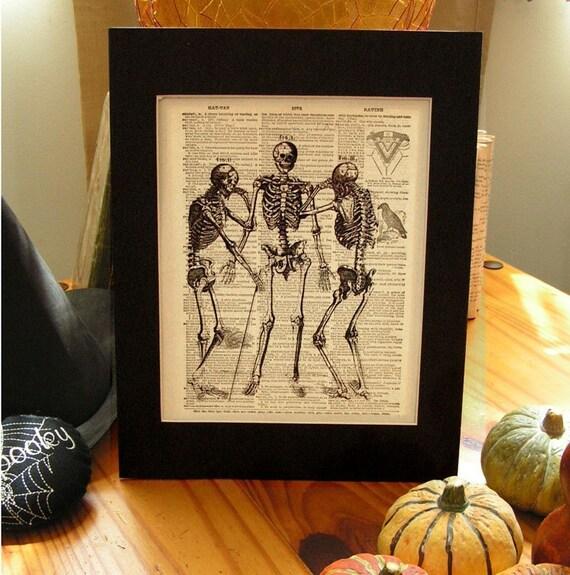 Three Skeleton Vintage Illustration - Can We Talk - Dictionary Book Print 8 x 10