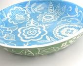 Large  Ceramic  Blossom Bowl Sea blue