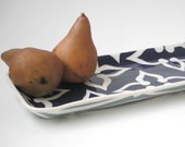 Ceramic serving tray, Navy blue and aqua-made to order