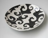 Serving Bowl -  grey ornate and aqua