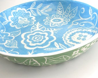 Large  Ceramic  Blossom Bowl Sea blue