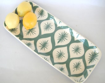 Ceramic serving tray, teal Morocco sparkle motif  made to order