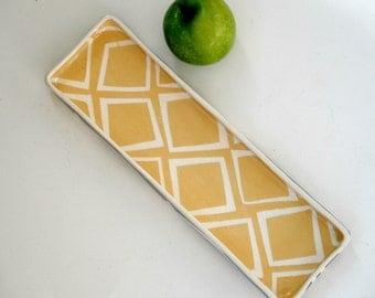 Ceramic Rectangular  tray, goldenrod yellow and grey