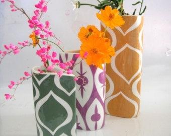 Ceramic vase handmade turmeric gold patterned cylinder vase