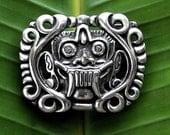 BALI MASK Sterling Silver Belt buckle - Barong mask - Tribal design -