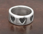 Hearts Band Ring in Sterling silver