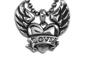 HEART with WINGS Pendant custom name in sterling silver