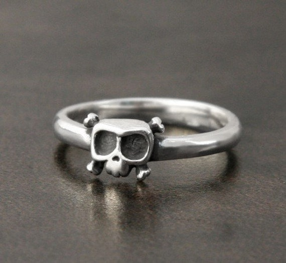 Baby Skull Ring 'Louie' In Sterling Silver