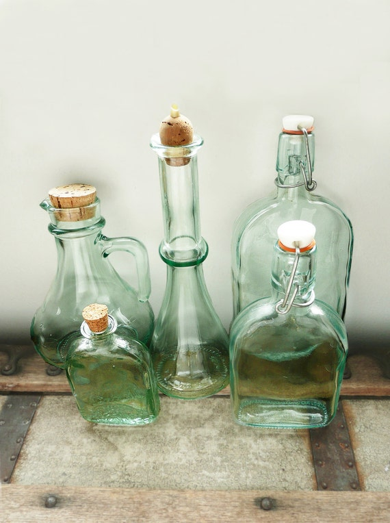 5 Green Glass Bottles - with corks