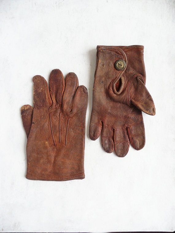 Antique Child's Gloves - brown leather by Perrin