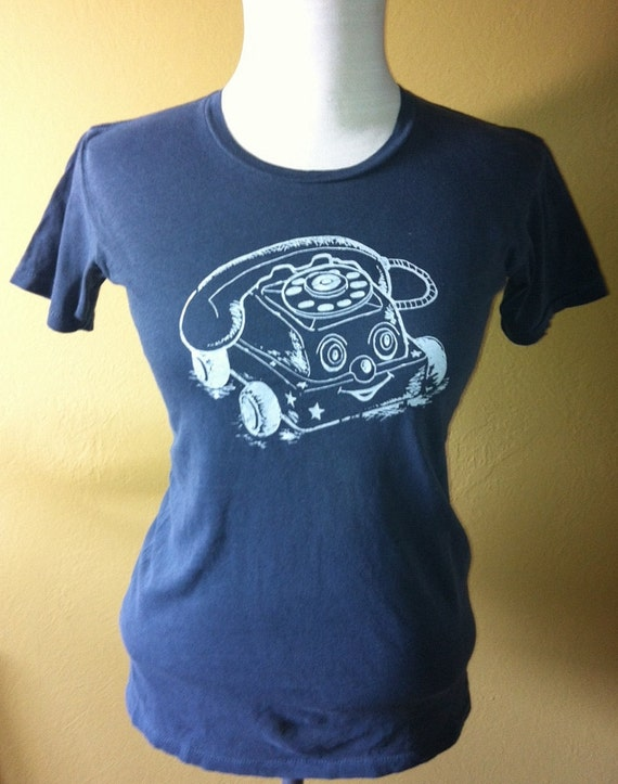 SALE Unisex T Shirt vintage blue with vintage toy telephone screen print size M