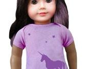 "matching unicorn T-shirt for 18"" doll"