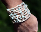 Crochet Pattern For a Beachy Blue Beaded Bracelet PDF