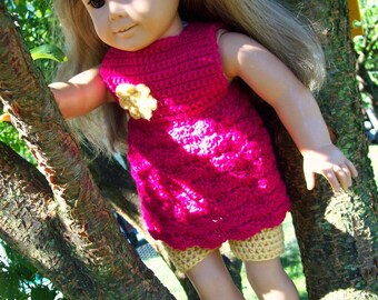 Pattern Directions for Making a Crochet Empire Dress and Tights for American Girl Type Dolls PDF