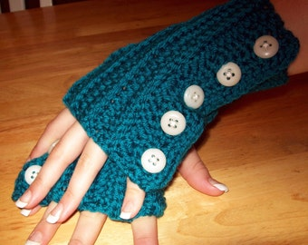 Crochet Pattern Directions for making Fingerless Buttoned GLoves PDF Pattern Instant Download