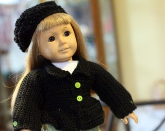 Pattern Directions for making a Crochet  Black Bell Coat and Hat for American Girl Type Dolls