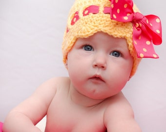 Crochet Sunny Bow Hat for Infant and Toddlers Custom Order