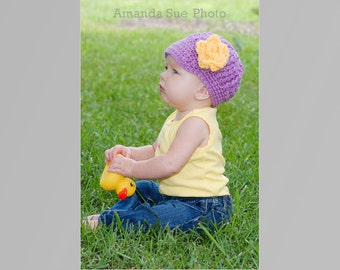 Crochet Pattern for a Cabled Newsboy Flowered Hat Infant and Toddlers Photo Prop PDF Instant Download Baby Hat