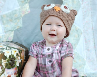 Crochet Little Owl Hat for Infant and Toddlers Custom Order Photo Prop Gift Kids