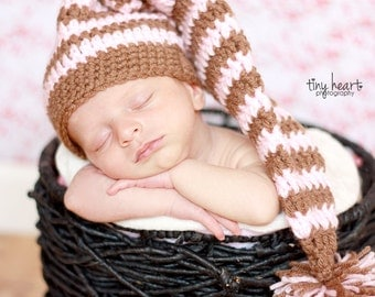 Crochet Pattern for Making a Crochet Striped Elf Hat for Infant and Toddlers Photo Prop PDF Instant Download