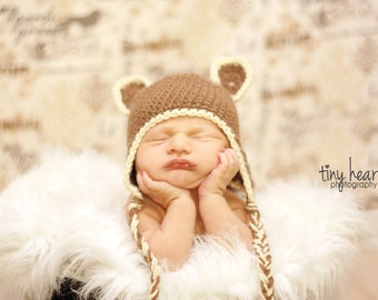 Baby Crochet Pattern for Bear Earflap Hat Infant and Toddlers Crochet Pattern Photo Prop - Instant Download