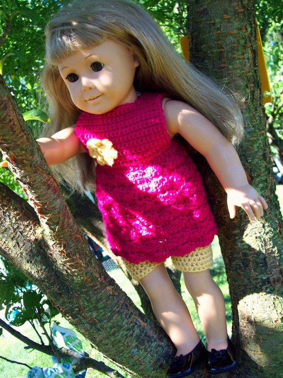 Pattern Directions for making a Crochet Empire Dress and Tights for American Girl Type Dolls PDF Pattern