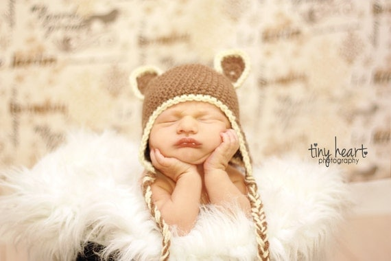 Crochet Pattern for a Little Bear Earflap Hat Infant and Toddlers Photo Prop - Instant Download