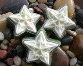 Unscented Set of Three Cocoa Butter n Hemp Stars in White and Green