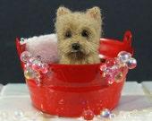 Yorkshire Terrier Sculpture - Needle Felted Yorkie Dog Sculpture, Miniature Yorkie in Bathtub - SALE