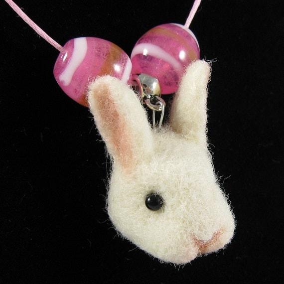 Easter Bunny Necklace - Needle Felted Rabbit Necklace, Easter Jewelry