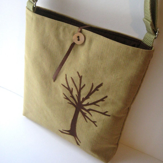 Ochre Tree Bag --- Adjustable Strap, Shoulder to Messenger Length